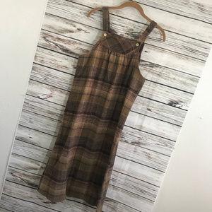 Vintage 80s Byer California Brown Plaid Dress